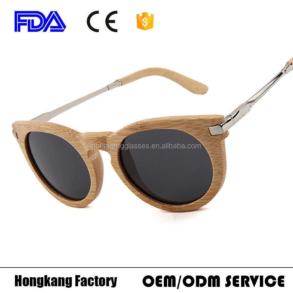 2017 newest Mens Polarized Lens Bamboo frame metal Arm Mirrored metal Sunglasses