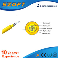 Single fiber Armored Cable outer jacket diameter 2.0mm PVC,LSZH,PU sheath Armored Cable