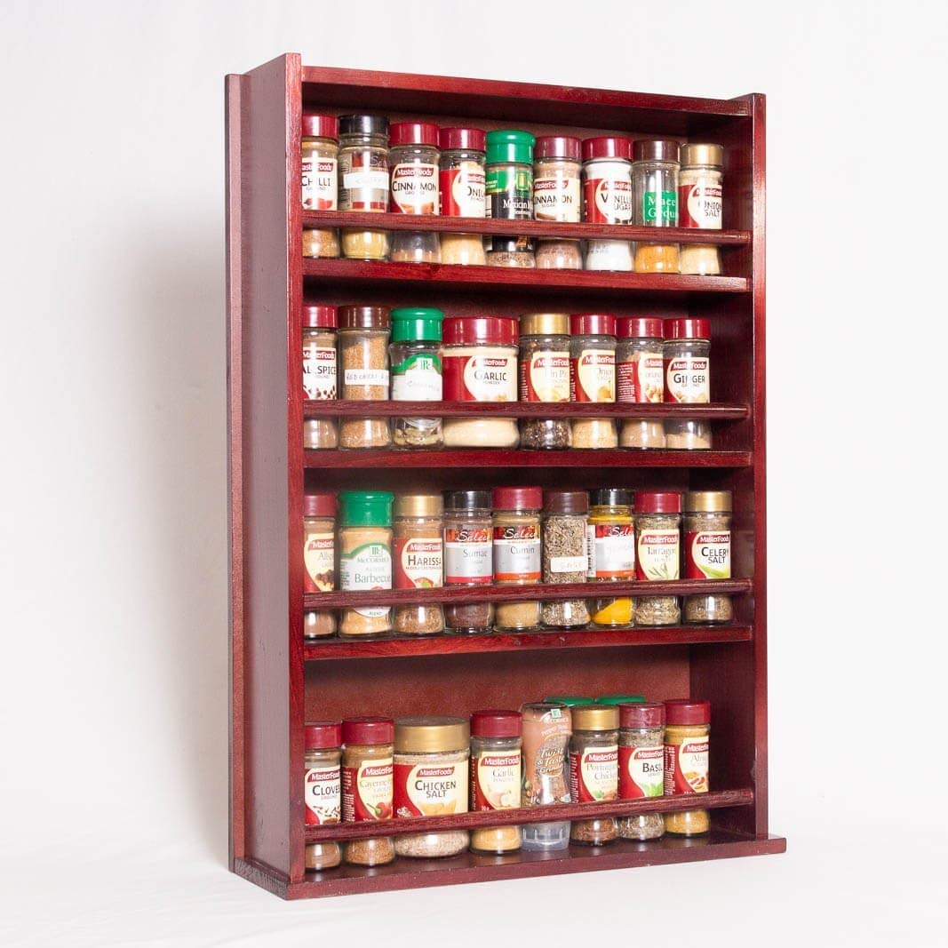 Spice Rack - Wooden - Closed Top - 4 Tiers - Timber Dowel - 72 Spice Jars