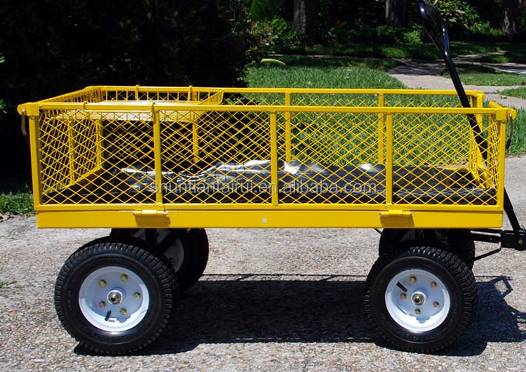 300kgs Foldable Yellow Kids Garden Trolley Wagon Carts