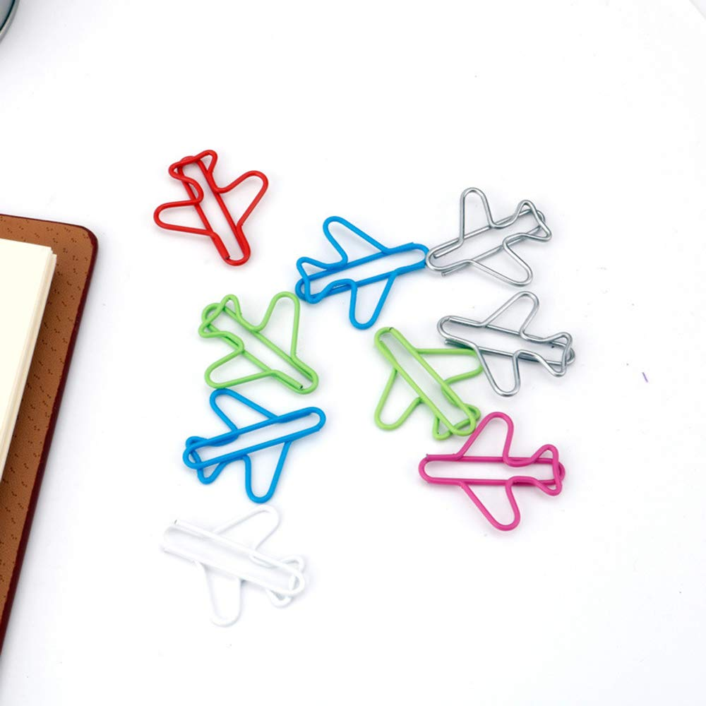 Multicolor vehicle card File metal paper clips marker Airplane shape paper clips