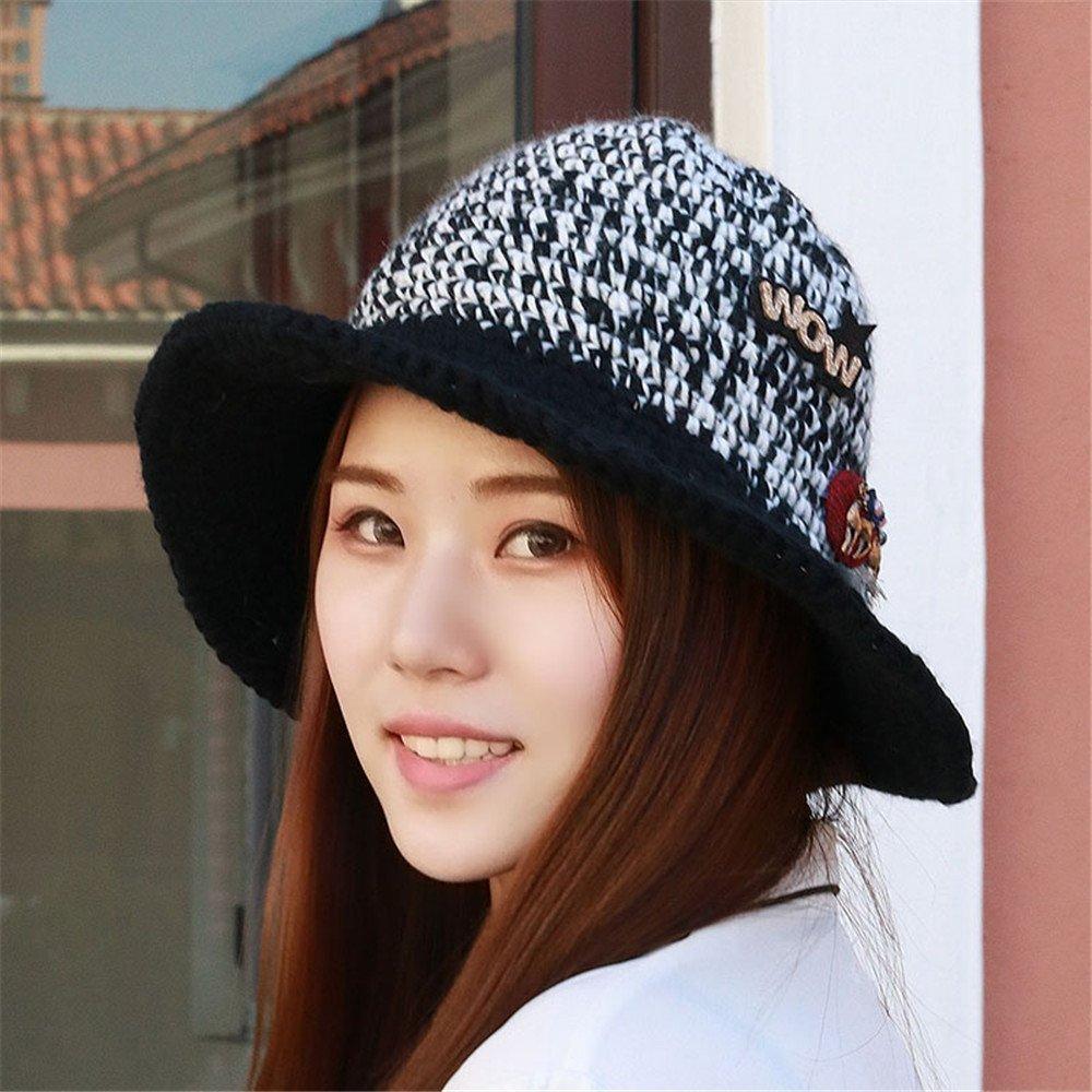 8cf052b962c Get Quotations · Women children little hat cap button knitted hat brim  width fisherman hat basin hat cute cap