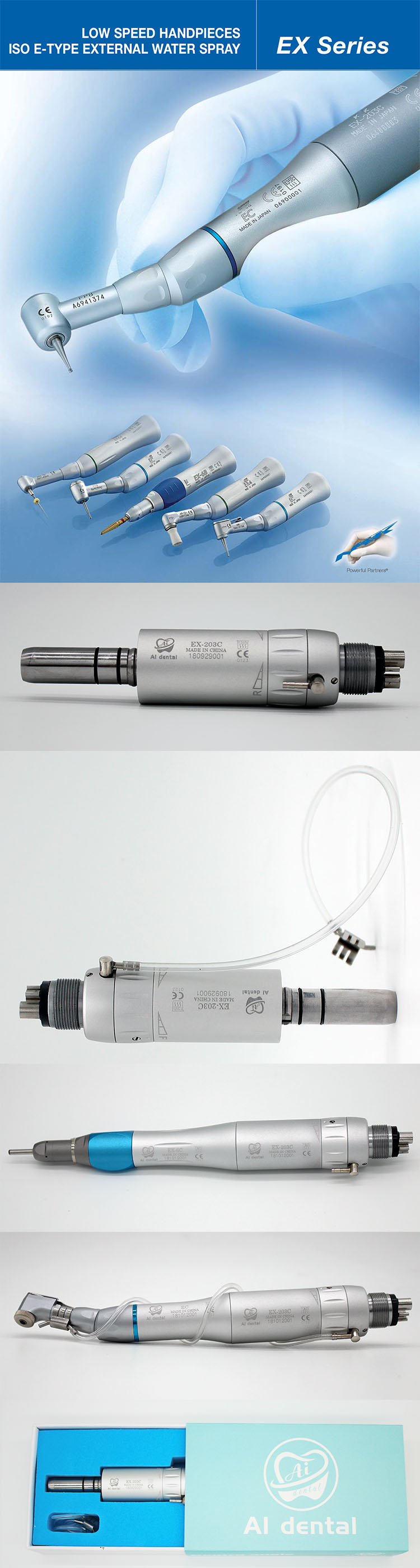 surgical instruments products 2 hole /4 hole low speed dental micro motor internal water for lab air turbine handpiece