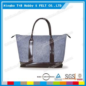 TFB17 Custom Eisure Design Grey 3MM Felt Shopping Bag, Felt Tote Bag With Leather Handle