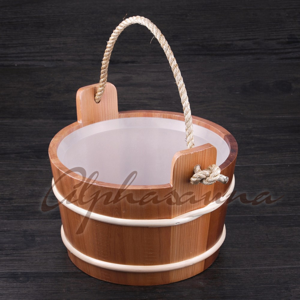 Canadian western red cedar Wood Sauna Room Bucket 5L with Removable Plastic Liner , Sauna room accessories wholesaler