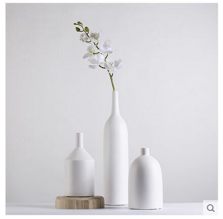 Modern Simple White Black Porcelain Small Flower Vase For Office