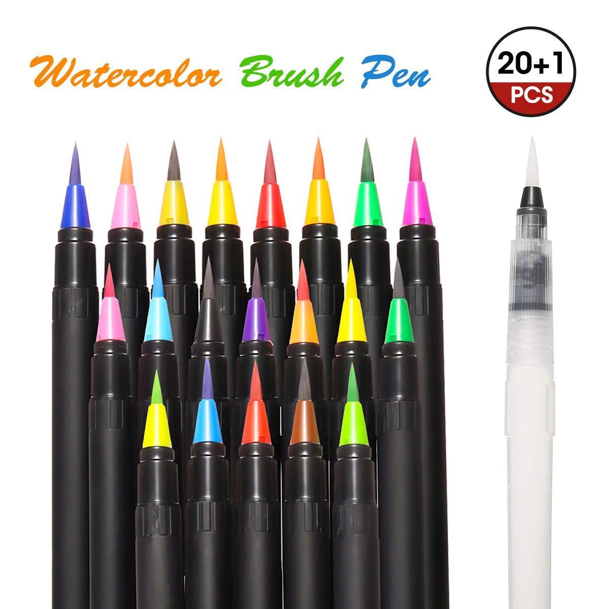 Watercolor Brush Pens ARTISTORE 21pcs (20 Colors+1 Water Brush Pen), Watercolor Brush Markers, Vibrant Colors Painting Brush Soft Flexible Tip for Kids Adult Coloring Books Calligraphy Manga Art Comic