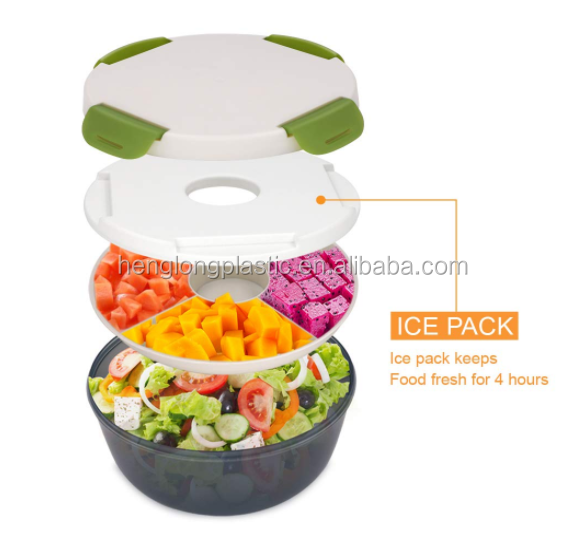 New Design Plastic To Go Salad Container With Ice Pack Fork and Spoon