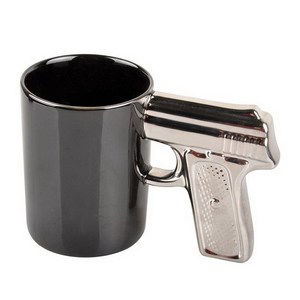 creative military theme gift black and white pistol gun ceramic mug with golden silver handle