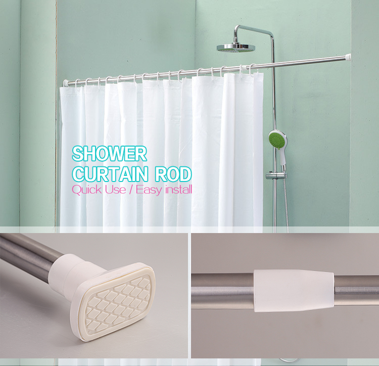 Retractable Bath Curtain RodStainless Steel Extended RodsInstallation Shower Rail