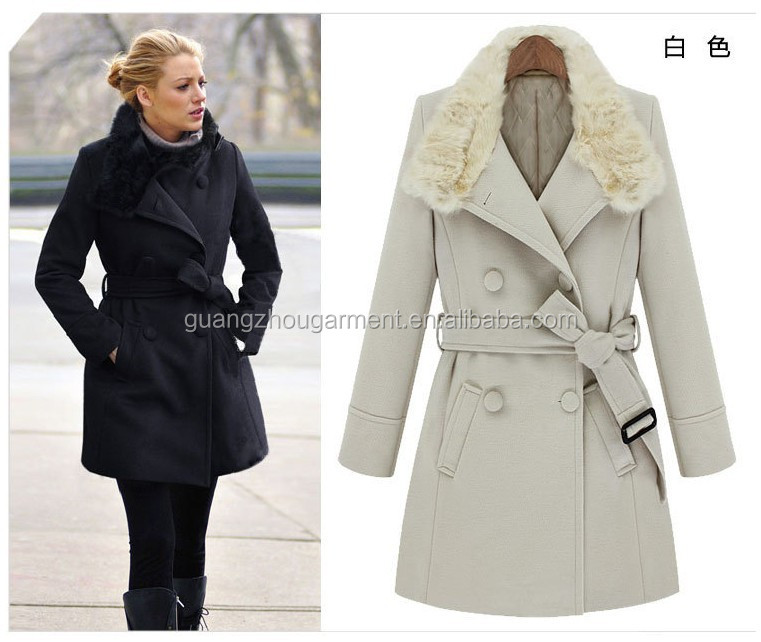 Woman 2014 Winter Gossip Girl Fashion Hot Rabbit Fur Collar Slim ...