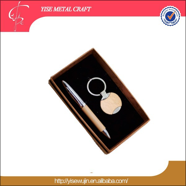 Guangdong High Quality wood Printed PU Ken Chain Corporate Business Gift Sets Advertising gift sets with Pen gift set