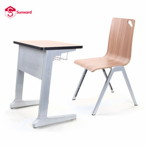 school classroom plywood furniture wooden single desk and chair for university students