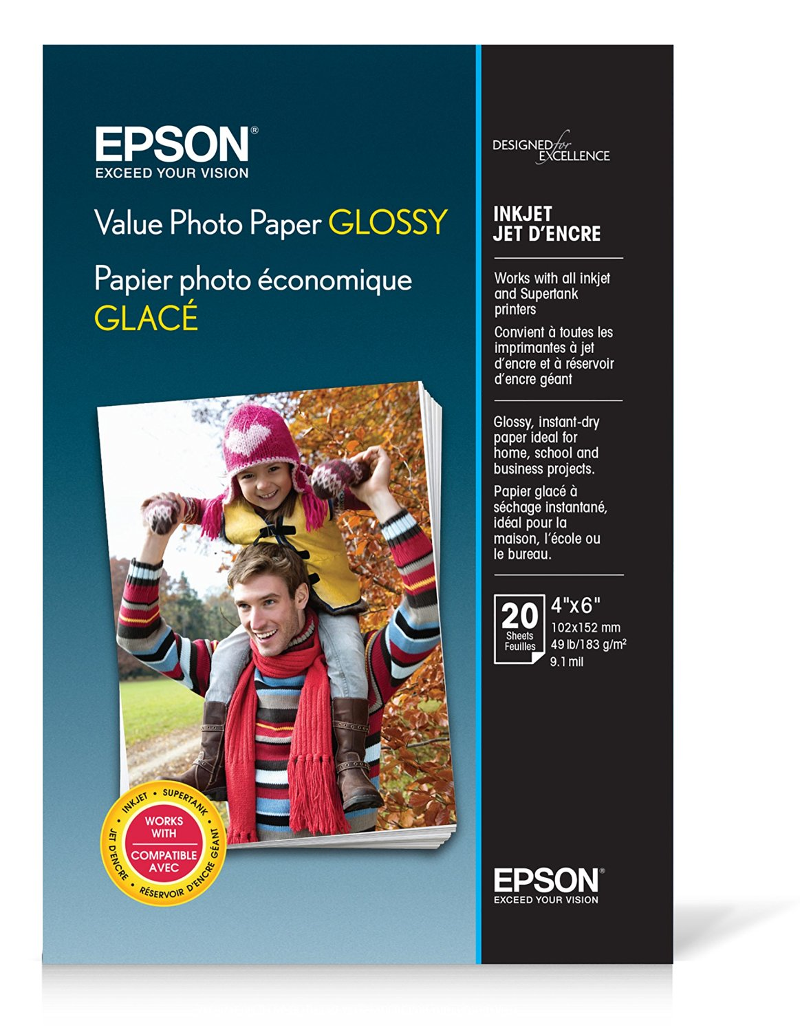 """Epson Value Photo Paper Glossy, 4""""x6"""", 20 Sheets (S400032)"""