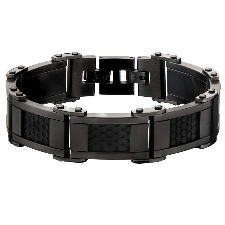 63c0be41ecc5 Get Quotations · Tribal Hollywood Honeycomb Gunmetal Black And Gunmetal  Stainless Steel Bracelet For Men