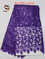High quality purple sequins embroidery lace fabric with holes floral embossed fabric SL10183