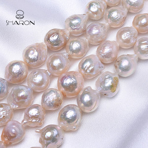 Wholesale Natural 12-15mm Round Baroque Pears Edison Pearls Loose For Mother's Day Gifts