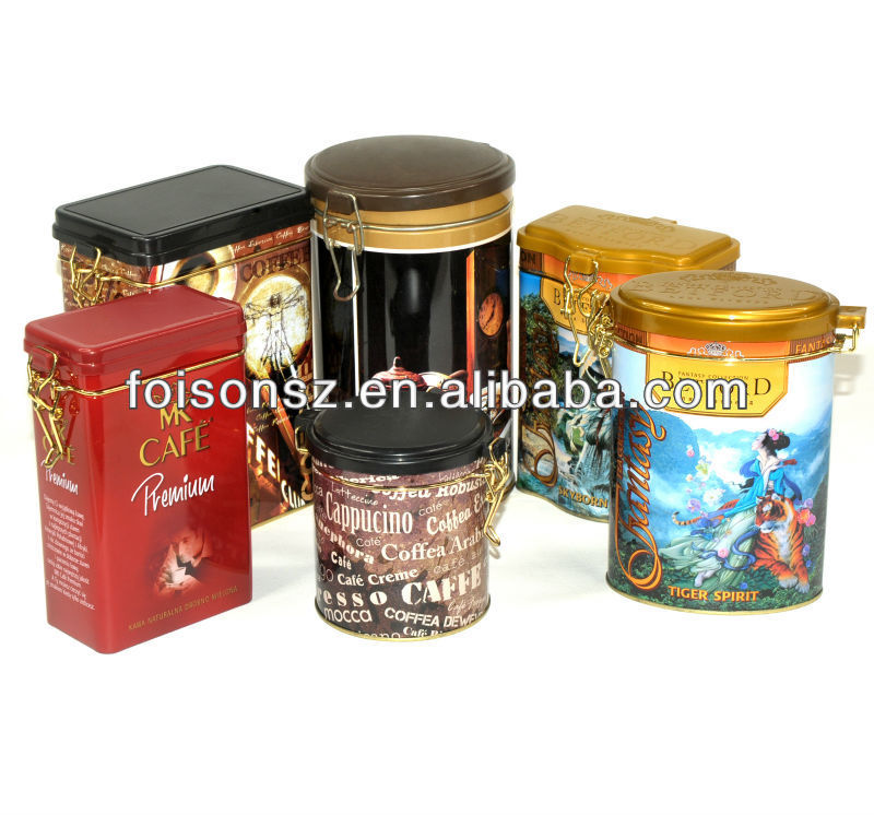 all sorts of metal tin cans for coffee and tea chocolate package