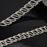 Flat back Crystal Trims Rhinestones Type and Garment,Shoes,Bags Use Crystal Chain Trims for Wedding