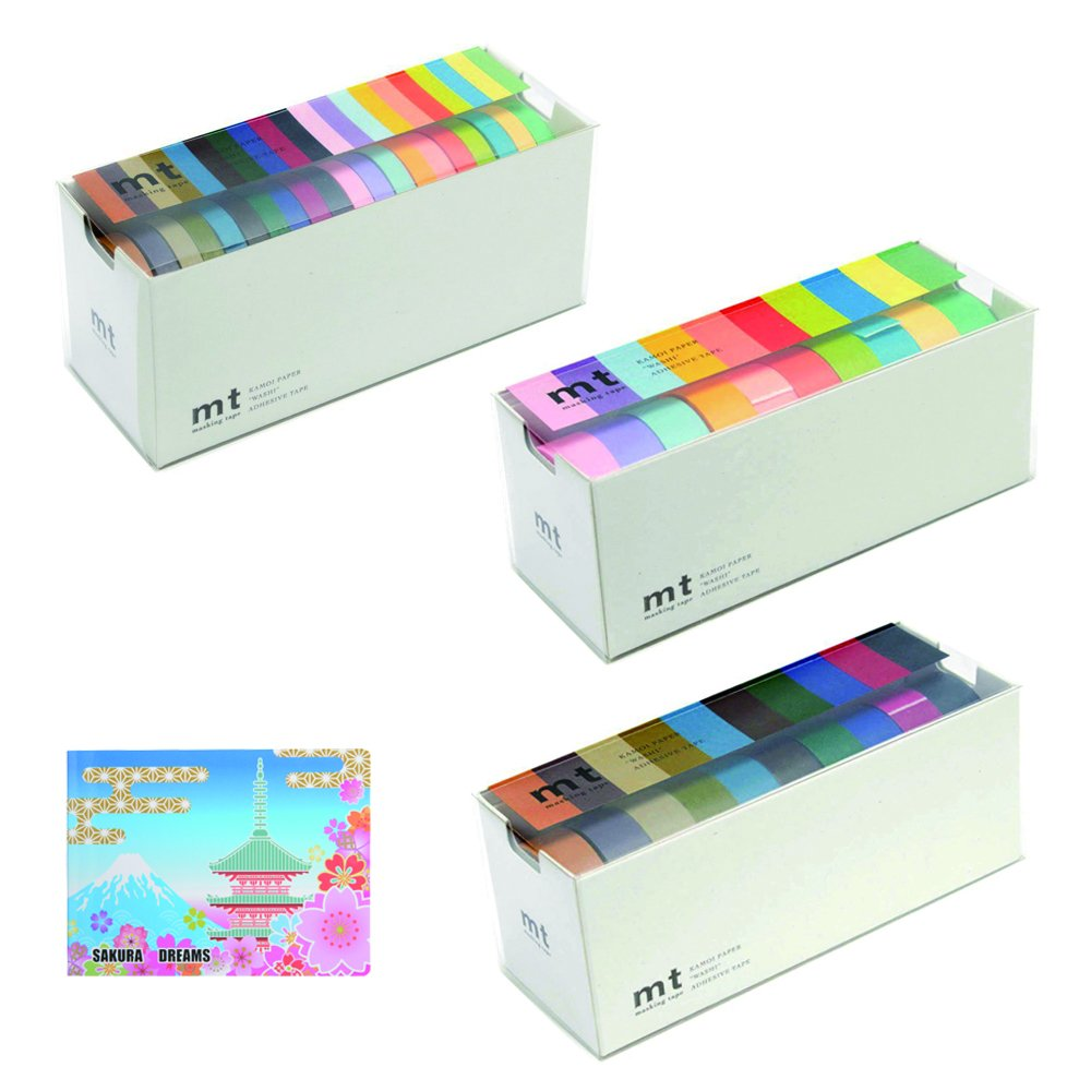 MT Washi Masking Tapes, Bright & Cool Colors, Set of 20 + Masking Tapes, Bright Colors, Set of 10 + Masking Tapes, Cool Colors Set of 10 +SAKURA Original 5 Colors Sticky Notes