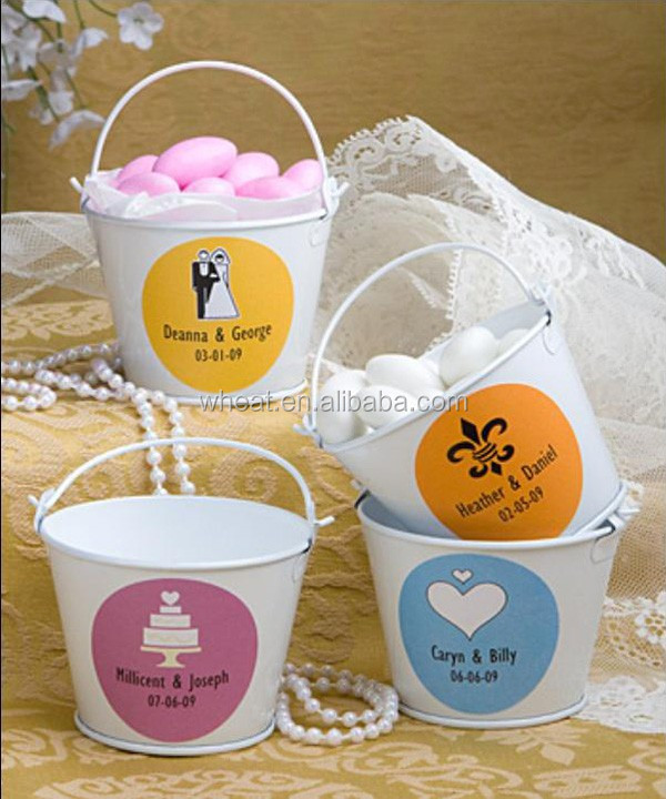 Wedding High Quality Mini Tin Pail With Personalized Sticker Buy