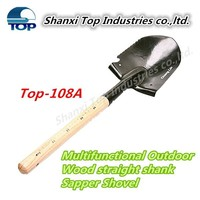 Military snow shovel with wood handle