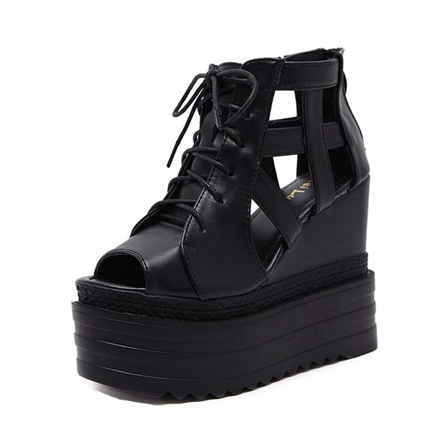 e8db56207234 Get Quotations · GIY Women s Platform Wedges Sandals Gladiator Peep Toe  Chunky Hidden Heel Zipper Lace up Booties Black