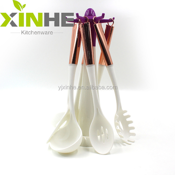 Kitchen Tool Set Accessory Nylon Plastic Kitchen Utensils With Copper  Plating Handle