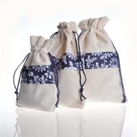 Sun Flower Pattern Cotton Jute Drawstring Wedding Packaging Bags, Wedding Favor Bag