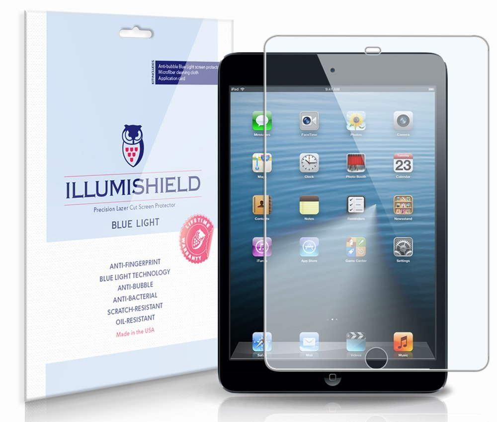 iLLumiShield – Apple iPad mini (1st Generation) (HD) Blue Light UV Filter Screen Protector Premium High Definition Clear Film / Reduces Eye Fatigue and Eye Strain – Anti- Fingerprint / Anti-Bubble / Anti-Bacterial Shield - Comes With Free LifeTime Replacement Warranty – [2-Pack] Retail Packaging