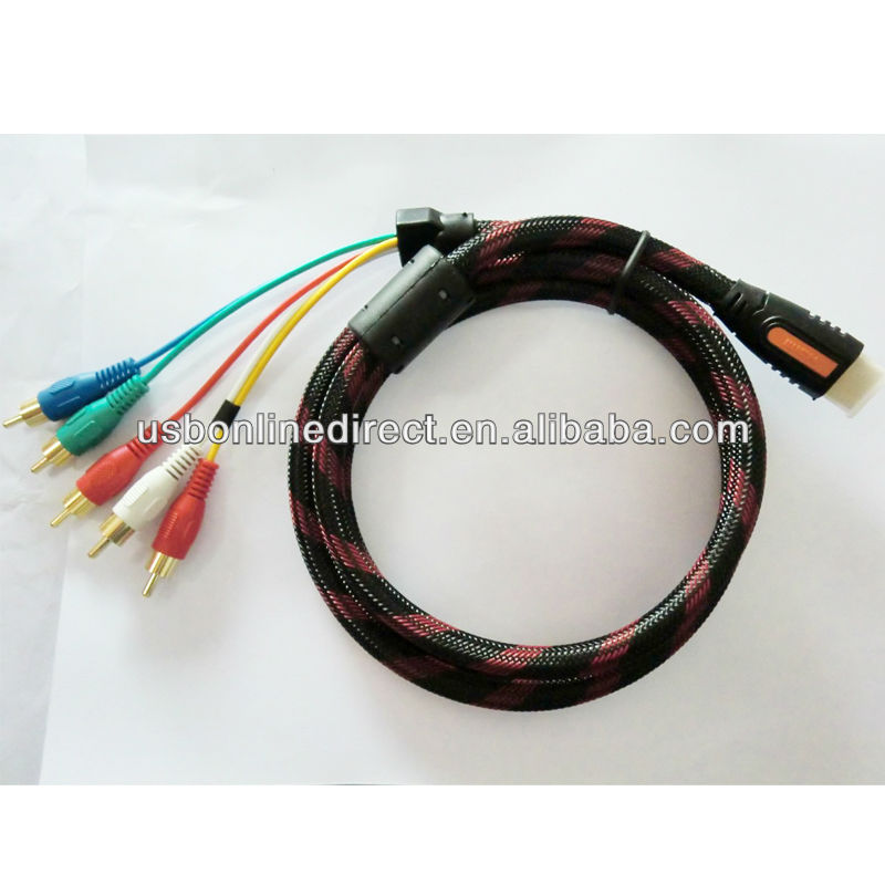 1.5 M HDMI mini HDMI to 5 RCA Audio Video AV Component Cable nylon mesh
