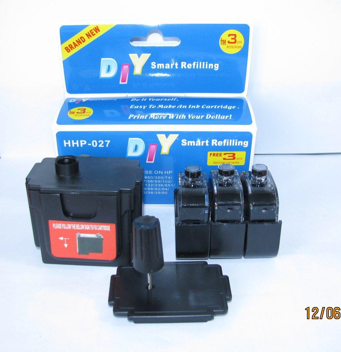 DIY Smart Ink Refill kit for HP 21 27 56 74 92 94 98 60 61 901 Black Ink Cartridges