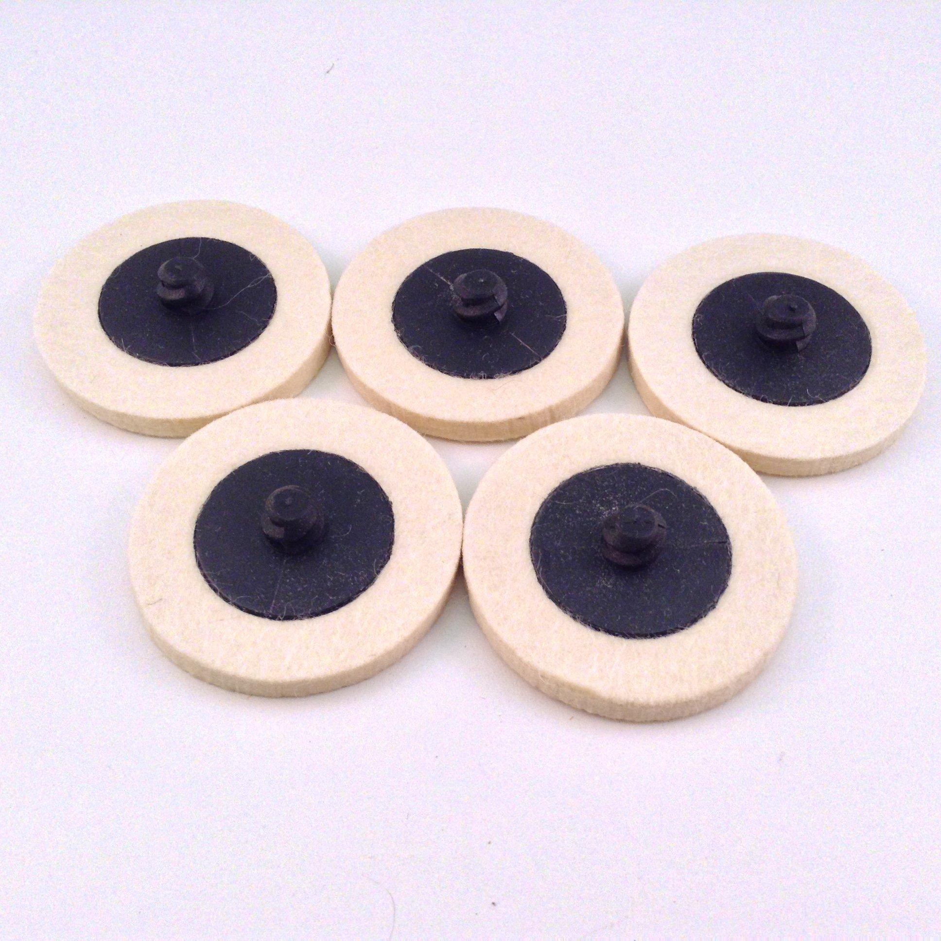 "5pc Roloc Style 2"" Wool QC Disc Polishing Buffing Pads Wheels"