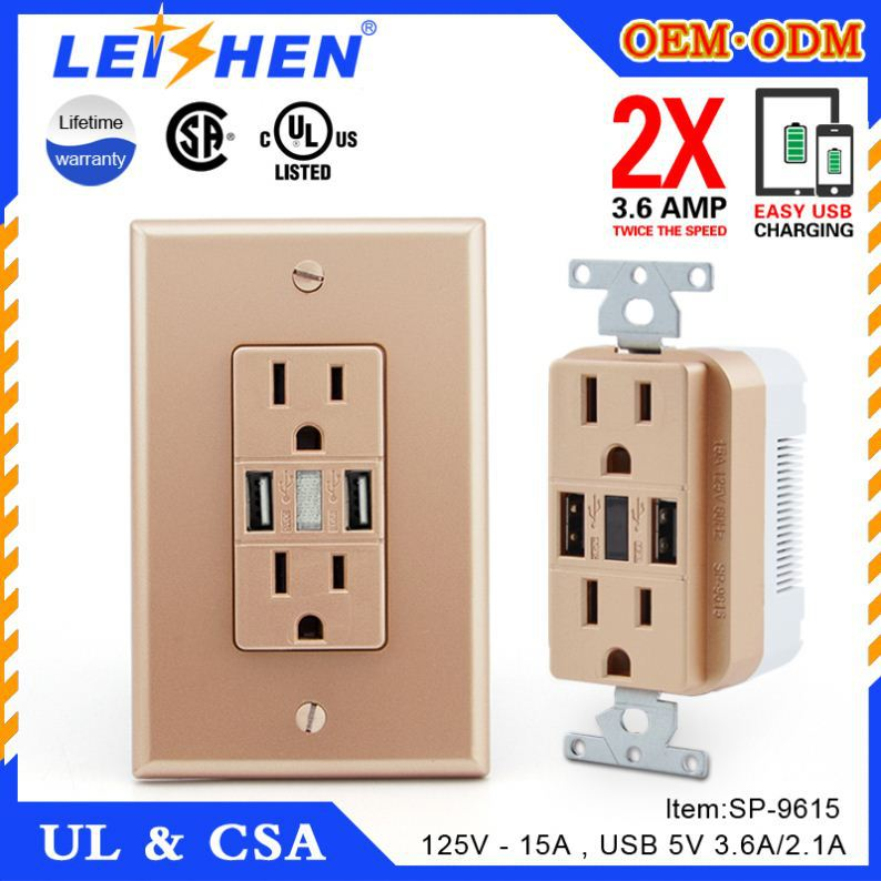 Electrical Switch Socket Ac American Standard Plug Multi Usb Wall Outlet Socket