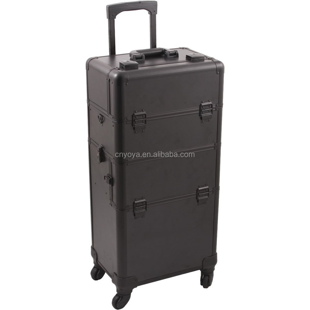 Rolling Makeup Case with Easy-Slide and Extendable Trays