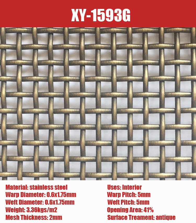 SHUOLONG XY-1593PVC stainless steel Colored Cladding Architectural Decorative Mesh