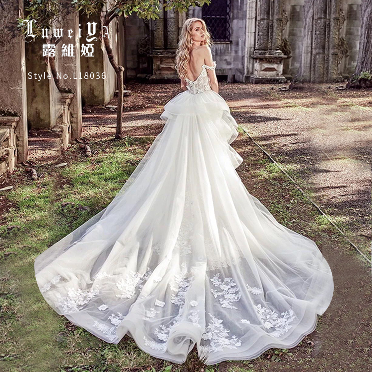 Latest Style Wedding Gown With Removable Tail Sexy Mermaid Wedding Dress For Bridal