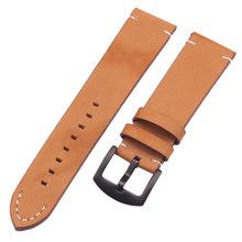 Ремешок для часов из натуральной кожи, винтажный, темно-коричневый, черный, 18, 20, 22 мм, с металлической пряжкой(China)