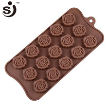 Happy Valentine' Day 15 Cavities Newest Vivid 3d Rose Silicone Chocolate Molds