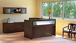 "Mayline L-Shaped Reception Desk 72""W X 84""D X 45""H Desk 72"" X 36""D X 29 1/2""H Return 48""W X 24""D X 29 1/2""H Transaction Counter 72""W X 42""D X 15 5/8""H - Mocha"