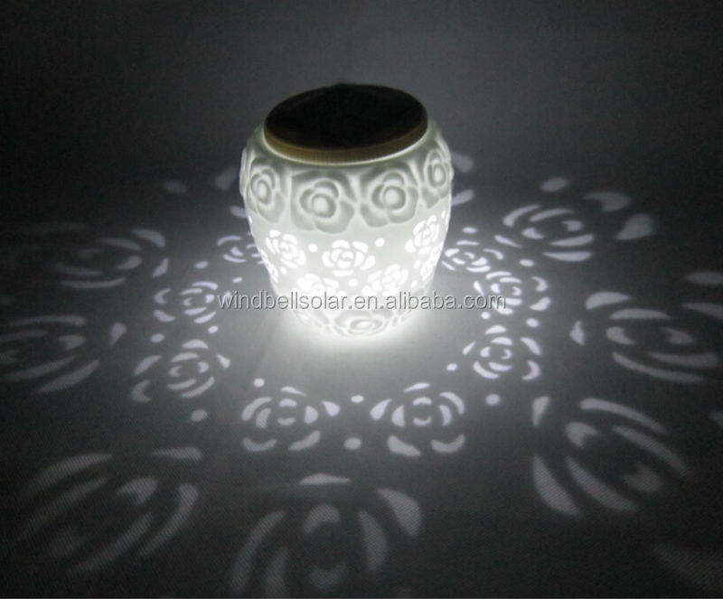 LED solar high transparent ceramic vase lamp home and outdoor use