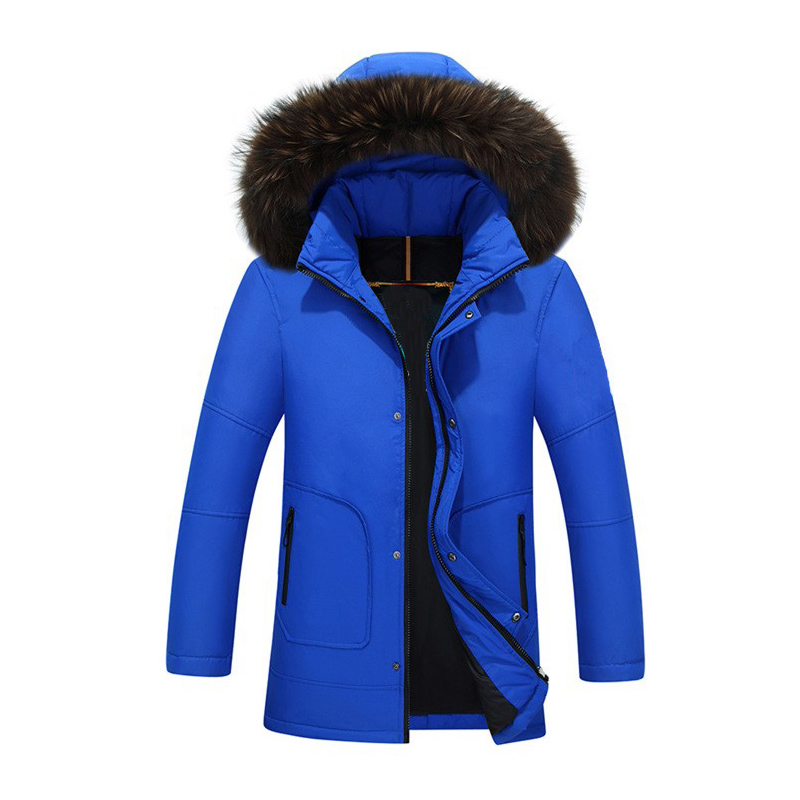 4 Colors 50% White Duck Down Long Jackets Men Winter Fox Fur Collar Hooded Coat Male High Quality Thicken Long Parkas