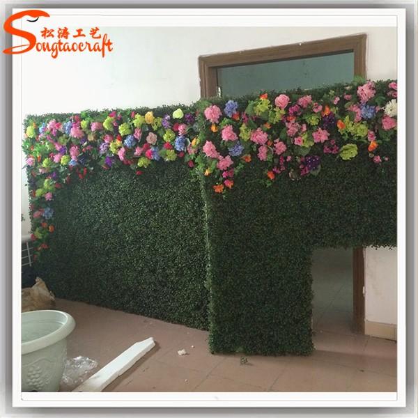 Grass And Flower Made Of Artificial Green Wall For Garden