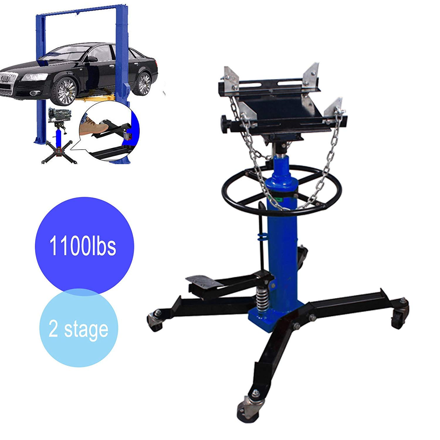 Strongway Hydraulic Transmission Jack 49 5//8in.-68 3//4in 1//2-Ton Capacity Lift Range