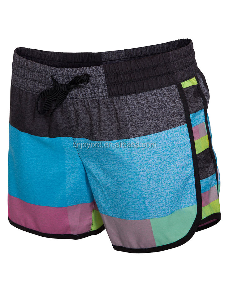 custom pattern 100% polyester women ladies swim shorts
