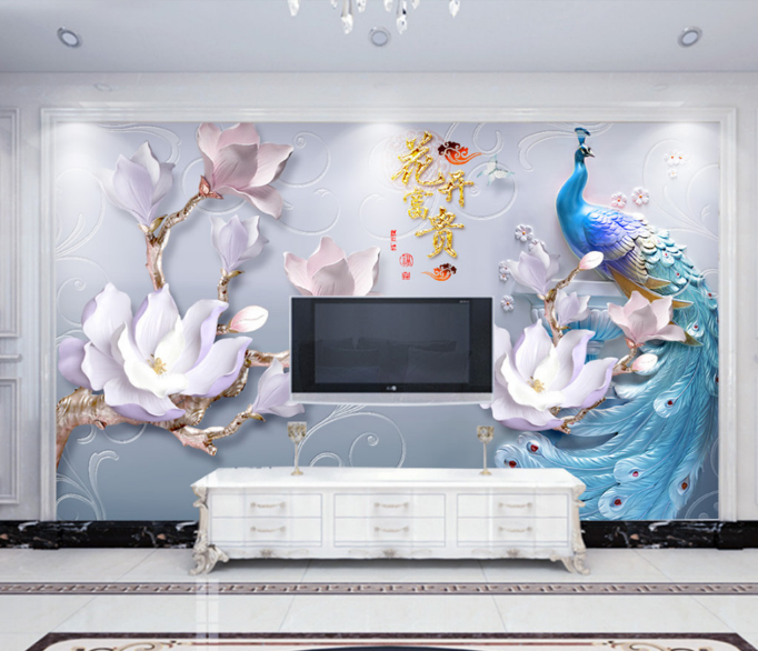 High Quality 3d Effect Peacock Wall Mural Wallpaper Tv Background Wall Decor Papers Home Decor Wallpaper Waterproof Buy 3d Wall Mural Mural