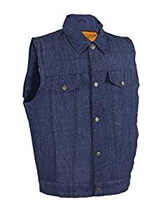 Men's Dark Blue Denim Gun Pocket Club Vest (Size XL, X-Large, 48-50)