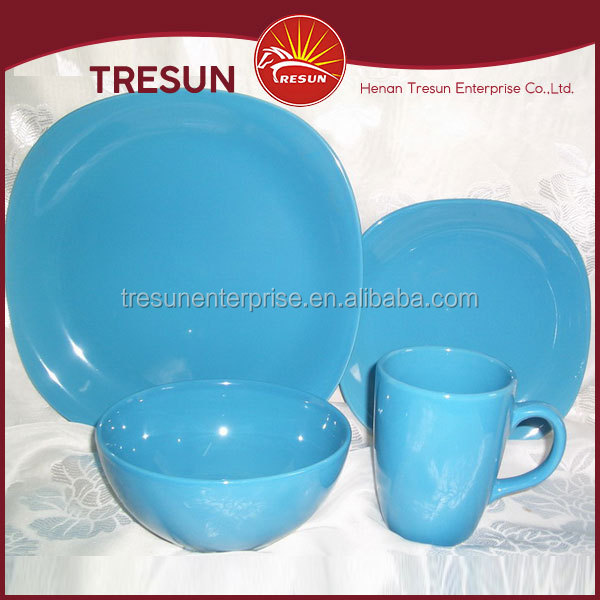 Hot selling Color Glazed Dinnerware Set Solid Blue Color Stoneware Dinnerware