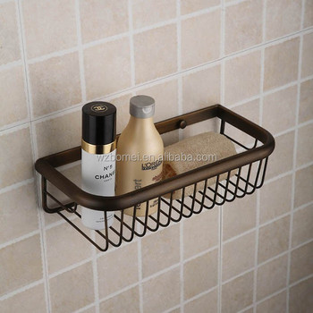 Antique Wall Mounted Metal Brass Bathroom Wire Basket ,storage Basket  ,shelves For Bathroom Accessories