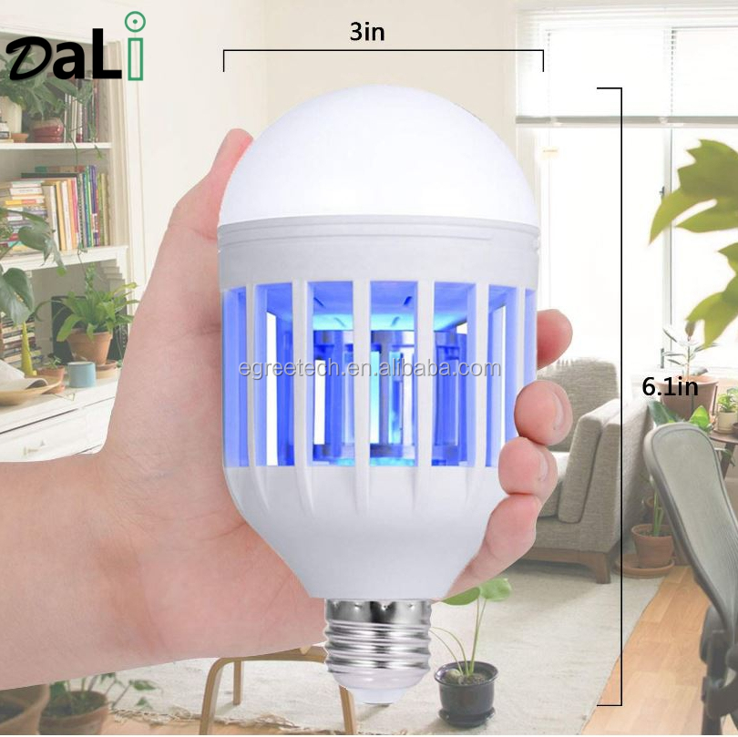 Bug Zapper Light Bulb, 2 in 1 <strong>Mosquito</strong> <strong>Killer</strong> Lamp UV LED <strong>Electronic</strong> Insect &amp; Fly <strong>Killer</strong> for Indoor and Outdoor E26/E27